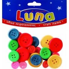 Κουμπιά ξύλινα διάφορα μεγέθη & χρώματα Luna 601682
