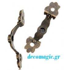 Decoration closure clasp  43 x 10 mm vintage bronze