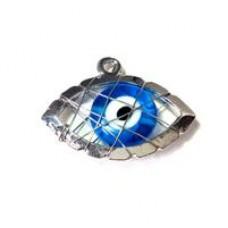 Μεταλλικό Μοτίφ γυάλινο μάτι με σύρμα 20x18mm