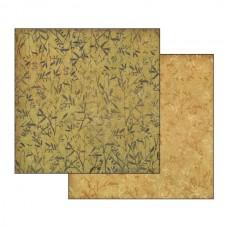 Χαρτί scrapbooking  διπλής όψης Stamperia Φτέρη σε φόντο ώχρας