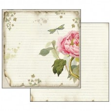 Scrapbooking paper double sided Stamperia Peonia Stripped