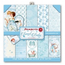 Scrapbooking paper block double sided Baby Light Blue