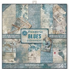 Scrapbooking paper block double sided  Blues