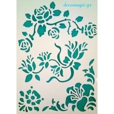 Στένσιλ εύκαμπτο 21 Χ 31 εκ. ( Α4) - Λουλούδια