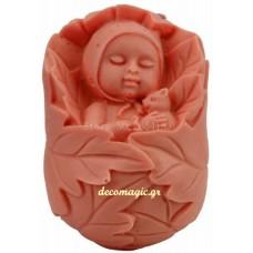 Καλούπι σιλικόνης 3D μωρό σε κρεββάτι με φύλλα
