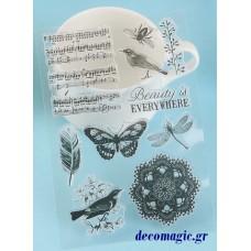 Στάμπα σιλικόνης νότες, πουλί, πεταλούδα