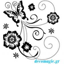 Στάμπα σιλικόνης πεταλούδα  & λουλούδι