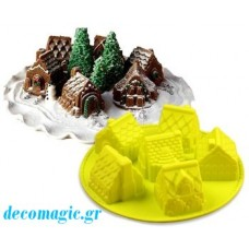 Mold 3d  soft silicone 6 little houses
