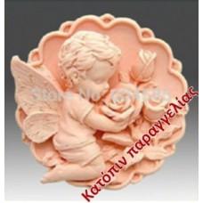 Καλούπι σιλικόνης 3D άγγελος με τριαντάφυλλα